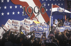 Delegates  supporting Bob Dole and Jack Kemp. Enthusiastic delegates wave their signs supporting Bob Dole and Jack Kemp at the 1996 Republican National Stock Images