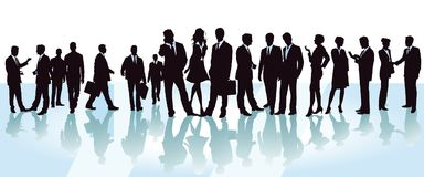 Delegates to a business conference. Illustration of delegates to a business conference  seen in silhouette, all smartly dressed,  and in monochrome networking Stock Photo
