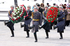 Delegation. Rossiya.moskva.23fevralya 2011g.vozlozhenie wreaths delegations of administrative districts of the capital on the grave of the Unknown Soldier in royalty free stock photography