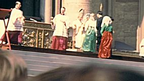 Delegation of believers in San Pietro Rome. Vatican, Rome, Italy - Circa 1970: delegation of believers in Basilica of Saint Peter waiting to meet the old Pope stock video