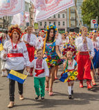 A delegation from the Cherkasy region in national traditional co. KIEV, UKRAINE - AUGUST 24: Ukraine Independence Day.A delegation from the Cherkasy region in royalty free stock images