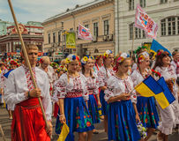 A delegation from the Cherkasy region in national traditional co. KIEV, UKRAINE - AUGUST 24: Ukraine Independence Day.A delegation from the Cherkasy region in royalty free stock photo