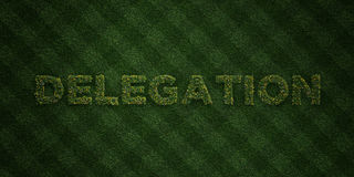 DELEGATION - fresh Grass letters with flowers and dandelions - 3D rendered royalty free stock image Royalty Free Stock Photo