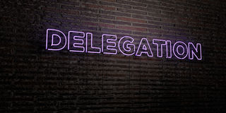 DELEGATION -Realistic Neon Sign on Brick Wall background - 3D rendered royalty free stock image Stock Photo