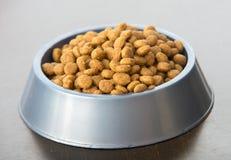 Deleites secos do cão ou do gato na bacia Imagem de Stock