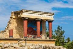 Delen av fördärvar i Knosos, Kreta royaltyfri foto