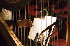 Delen av musikinstrumentet kallade harpan i abstrakt bakgrund Royaltyfri Bild