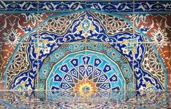 Delen av spisen från den kungliga eran som byggdes av turk, glasade keramiska tegelplattor med blom- dekoreringar som tillverkade arkivfoton