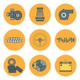 Delen van de het pictogramauto van de lijn plaatsen de vlakke kleur vector met de interne verbrandingsmotorelementen van het land Royalty-vrije Stock Fotografie