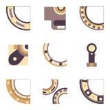 Delen van het dragen van gekleurde pictogrammen Stock Afbeeldingen