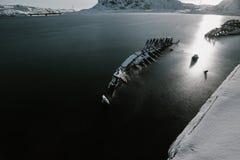 Delen van verlaten schepen bij noordelijke kust Royalty-vrije Stock Foto