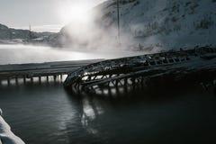 Delen van verlaten schepen bij noordelijke kust Royalty-vrije Stock Fotografie