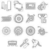 Delen voor de elektrische pictogrammen van de fiets vlakke lijn Stock Foto's