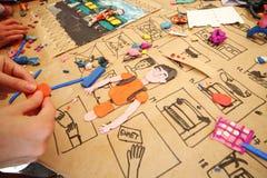 Delen voor de plasticinemens bij hoofd-klasse Stock Afbeelding