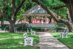 DeLeon Plaza bandstand σε στο κέντρο της πόλης Βικτώρια Τέξας στοκ εικόνες