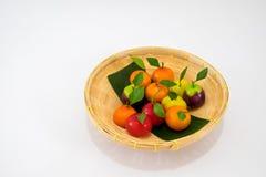Delerable Imitation Fruits, Thai dessert. The colorful fruits sweets, Delerable Imitation Fruits is one of the popular auspicious Thai desserts royalty free stock photo