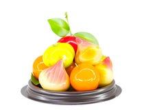 Deletable efterföljd bär frukt, den thailändska efterrätten som isoleras på vit backg Royaltyfri Bild