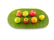 Deletable imitatievruchten Thais Dessert Stock Foto's