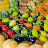 Deletable imitation fruits - finger food party Stock Photo