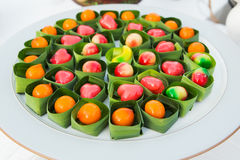 Deletable Imitation Fruits (Kanom Look Choup). This dessert, many people think of a various kind of colorful fruits. Delerable Imitation Fruits is one of the stock image
