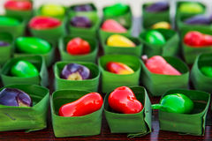 Deletable Imitation Fruits (Kanom Look Choup). This dessert, many people think of a various kind of colorful fruits. Delerable Imitation Fruits is one of the royalty free stock photography