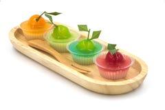 Deletable Imitation Fruits (Kanom Look Choup) on white backgroun Royalty Free Stock Image