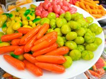 Deletable imitation fruits Look choup or fruits shape mugs bean in jelly. Thai traditional favorite desserts stock photos