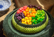 Deletable imitation fruits (look choup). Traditional Thai desser Royalty Free Stock Photography