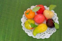 Deletable imitation fruits, Thai dessert on banana leaf. Stock Image