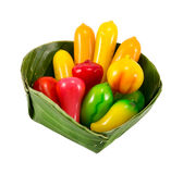 Deletable imitation fruits ,Thai dessert, lookchoup Royalty Free Stock Photography