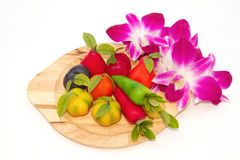 Deletable imitation fruits  Thai Dessert with orchid Stock Photo