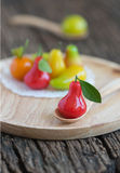 Deletable imitation fruits, Thai dessert, rose apple Stock Image