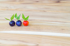 Deletable imitation fruits. Thai Sweet Bean Confections plating on wooden table Stock Photography