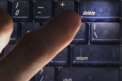 Delete. Finger ready to press the delete key Stock Image