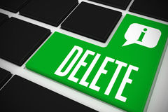 Delete on black keyboard with green key Stock Images
