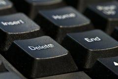 Delete botton. Closeup of delete botton on black keyboard Stock Images