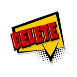 Delete comic text white background Stock Photo