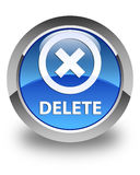 Delete glossy blue round button Stock Images