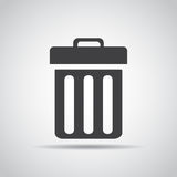 Delete icon with shadow on a gray background. Vector illustration Royalty Free Stock Photography