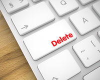 Delete - Message on the White Keyboard Button. 3D. Royalty Free Stock Photos