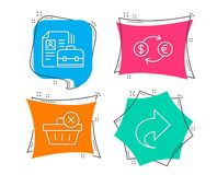 Delete purchase, Currency exchange and Vacancy icons. Share sign. Set of Delete purchase, Currency exchange and Vacancy icons. Share sign. Remove from basket Stock Photo