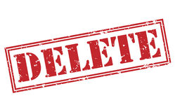Delete red stamp. On white background Stock Photos