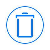 Delete, trash can, recycling bin circular line icon. Round colorful sign. Flat style vector symbol. Royalty Free Stock Photo