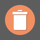 Delete, trash can, recycling bin flat icon. Round colorful button, circular vector sign with shadow effect. Flat style design. Stock Image