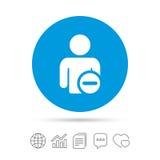 Delete user sign icon. Remove friend symbol. Stock Images