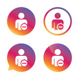 Delete user sign icon. Remove friend symbol. Royalty Free Stock Images