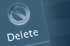 Delete word on computer monitor Royalty Free Stock Photos