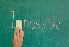Delete the word impossible letter M. On board royalty free stock images
