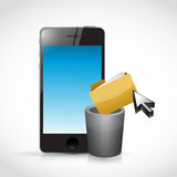 Deleting content on a cell phone. Royalty Free Stock Photography