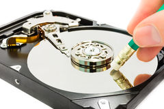 Deleting data from the harddisk. Deleting data to harddisk, show the process Stock Photo